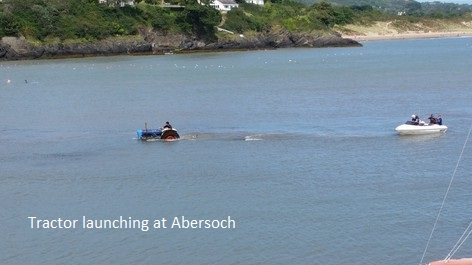 Abersoch launching by tractor