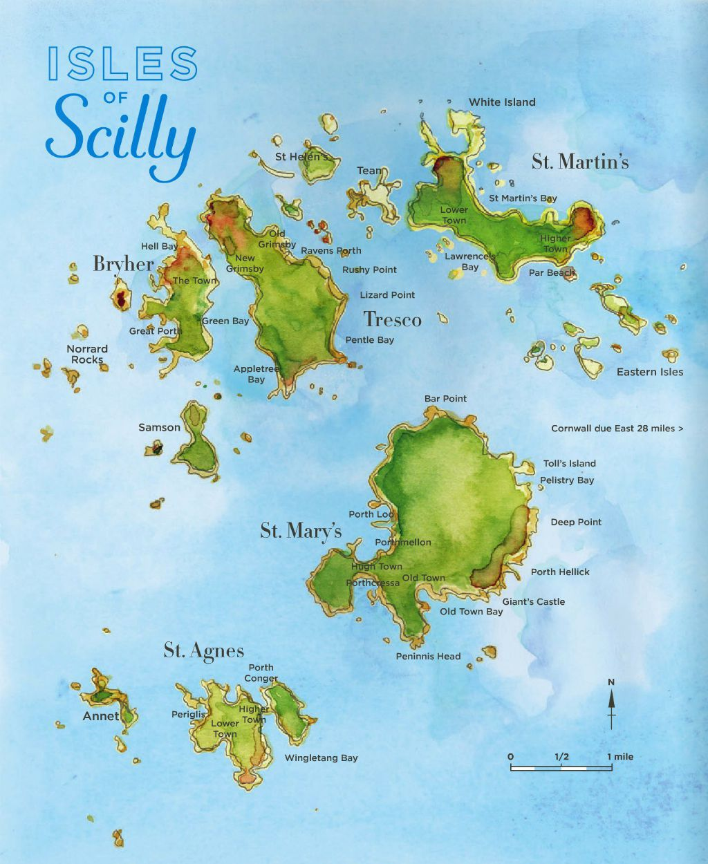 Map of Isles of Scilly